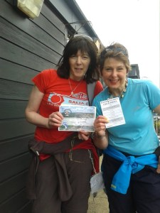 Faye Smith and Karen Perkins with their Stanage Stumble Certificates for 12 miles !
