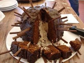 IInside hedgehog cake